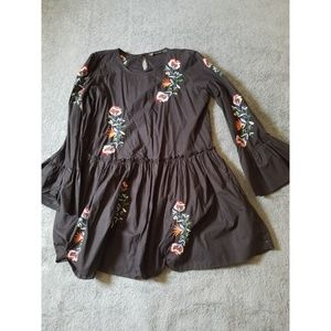 Zara Trafaluc Floral Embroidered Babydoll Dress